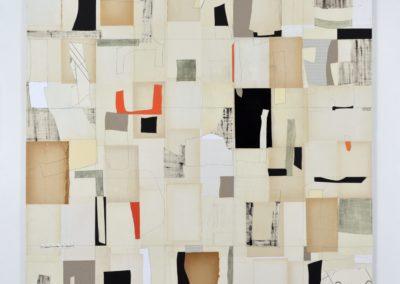 Collage innen_Tusche, Papier auf Holz_versch.Materialien_125x125cm_2017